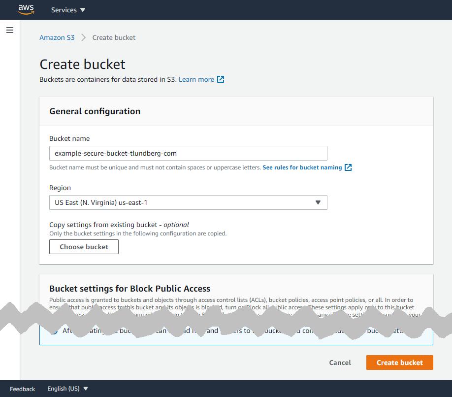 Truncated screenshot showing creation of new bucket