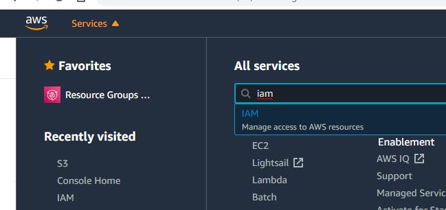 Screenshot showing the menu option to got to IAM