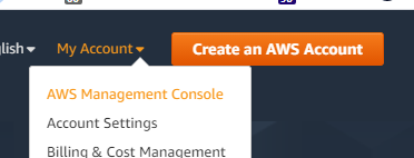Screenshot of AWS Management drop-down item and signup button