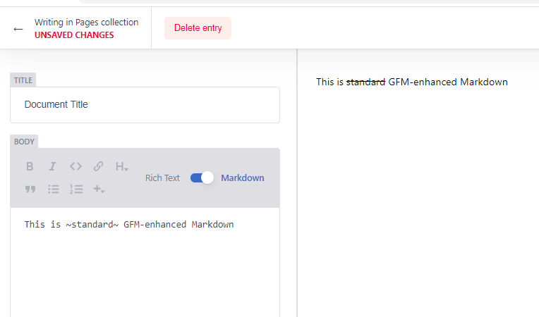 Screenshot of Netlify CMS with GFM enabled preview