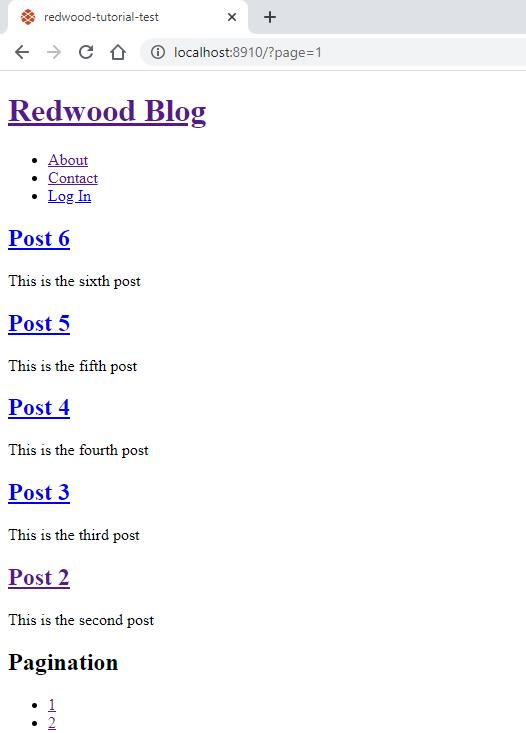 Screenshot of pagination
