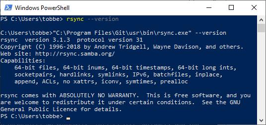 Screenshot of rsync running in PowerShell